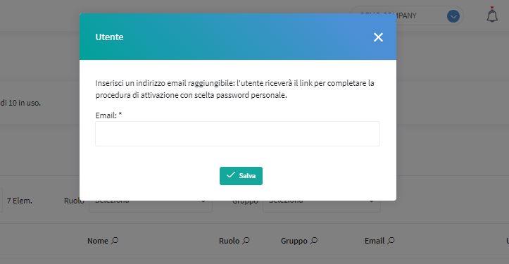 inserisci nuovo utente mail